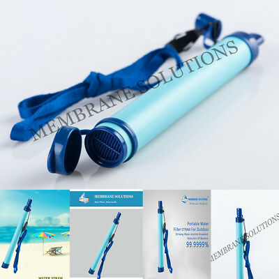Camping Hiking Emergency Survival Portable Purifier Water Filter Straw Gear NEW