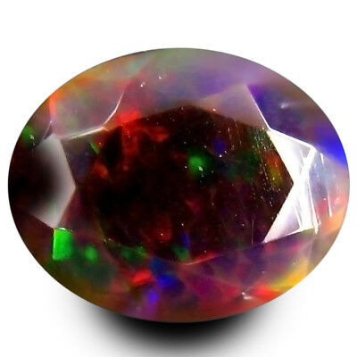 1.10 ct EXTREME FIRE DAZZLER! RAINBOW MULTI FLASHY CHAFF PATTERN WELO BLACK OPAL