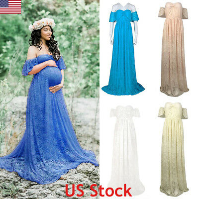 Pregnant Women Lace Off Shoulder Maternity Long Maxi Dress Gown Photography Prop