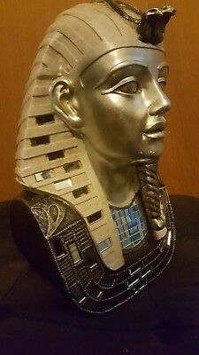 Egyptian Pharaoh King Tut Bust Mask Statue Tutankhamun Figurine In Wood
