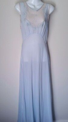 Vintage 1920s  Original Art Deco French Silk, Net, Embroided Lingerie Gown.