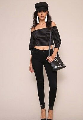 34284f722f2b New Honey Punch Black White Stripe Off the Shoulder Crop Top (Small)