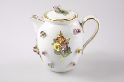 ANTIQUE 19th Century MEISSEN SMALL ROSE DECORATED TEAPOT