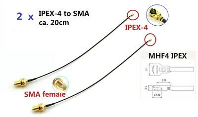 2 x 20cm IPEX-4(MHF4) to SMA female/Buchse Cable - intel 7260/7265/8260/EM906E