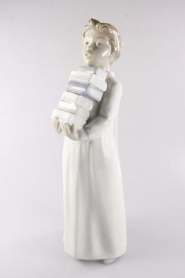 """Vintage Nao Lladro Daisa Spain Figural """"boy With Books"""" Hand Made"""
