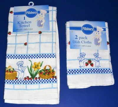 NWT Pillsbury Doughboy Multi Color with Red Strawberries Towel & 2 Dish Cloths