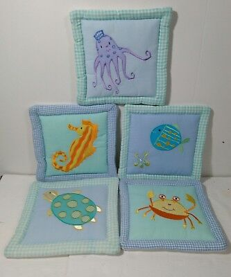 Kids Line Sea Life Nursery Quilted Wall Hangings Lot Of 5