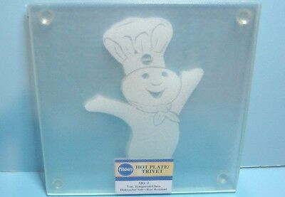 NEW Pillsbury Doughboy Etched Glass Trivets Hot Plates (Set of 2) - Poppin Fresh