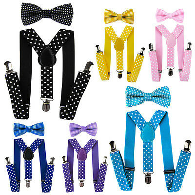 AXY Children Suspenders - Y Form 2,5cm Wide with Bow Tie 3 Clips - White Dots