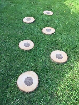 """4x 10"""" Across 1"""" Thick Real Wood Garden Stepping Stones"""