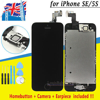 For iPhone SE 5S LCD Touch Screen Digitizer Home Button Camera Replacement Black