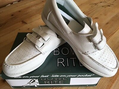 Mens Bowlrite White Leather Velcro Fastening Bowls Shoes New With Box Size 12