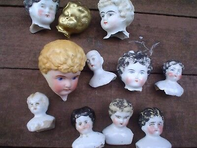 Joblot Antique China Heads For Tlc Projects Etc