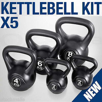 5 Sets Kettle Bell Training Weight Fitness Gym Exercise Lift Kettlebell Kit Au