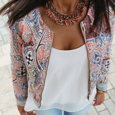 US STOCK Womens Long Sleeve Floral Casual Blazer Suit Casual Jacket Coat Outwear
