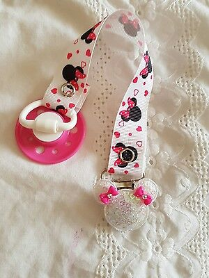 Reborn Hot Pink & White Baby Minnie Magnetic Dummy Clip~Soother
