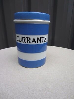Vintage T.G Green Cornishware  Large Currants Caddy