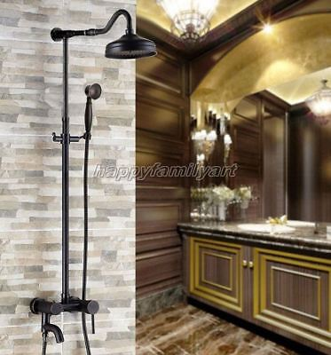 Black Oil Rubbed Brass Bathroom Rainfall Shower Faucet Set Tub Tap yrs643