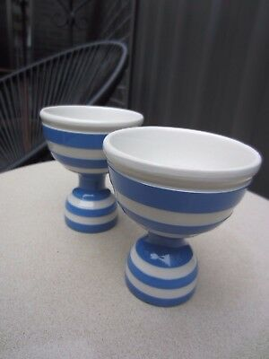 Vintage T.G Green Cornishware  Double Egg Cups x 2