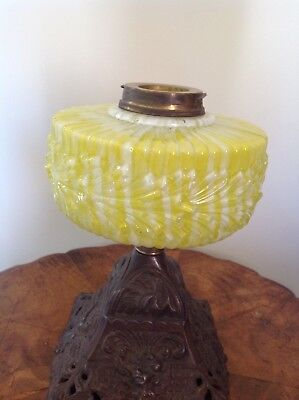 Antique Yellow Applied Glass Kero Lamp Bowl