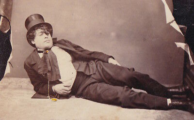 Carte De Visite Signed Actor Fred French 1860s Top Hat Reclining
