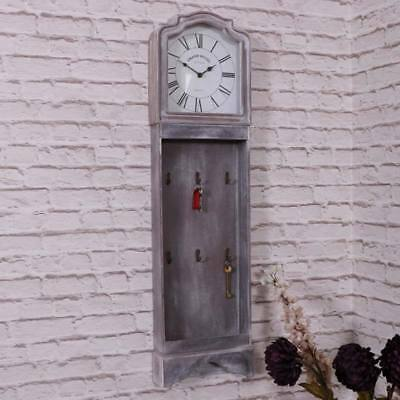 Grey wall mounted grandfather style clock shabby vintage chic roman numeral