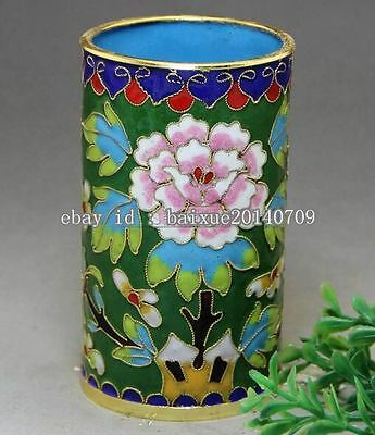 Chinese Cloisonne Hand-painted Peony Brush Pot