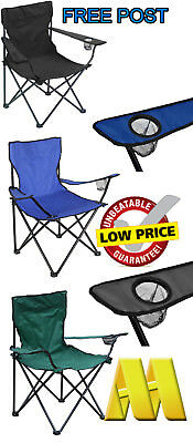 Foldable Camping Fishing Chair Seat Armrest Cup Holder Beach Garden Outdoor New