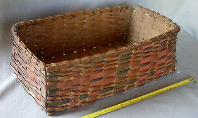 Antique Penobscot gathering basket red blue dyes decorated ash Native American