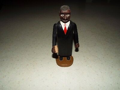 Risque Wood Carved Animated Black Judge Statue Folk Art Signed Look!!!