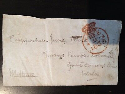 Free Front Dated 1839 - Chippenham To London - Signed Methuen