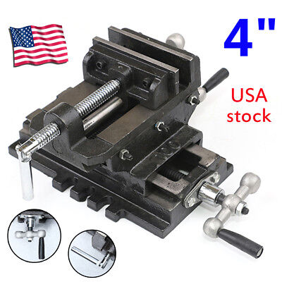 "New 4"" Cross Drill Press Vise X-Y Clamp Machine Slide Milling Metal 2 Way HD"