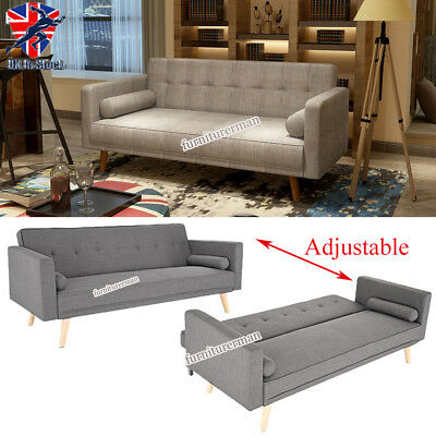 Retro Modern Design Fabric 3 Seater Comfort Sofa Bed with 2 Cushions Wood Legs
