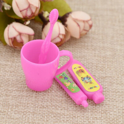 Kawaii Girl Doll Tooth Cup Toothbrush Toothpaste for Children Toy Accessories