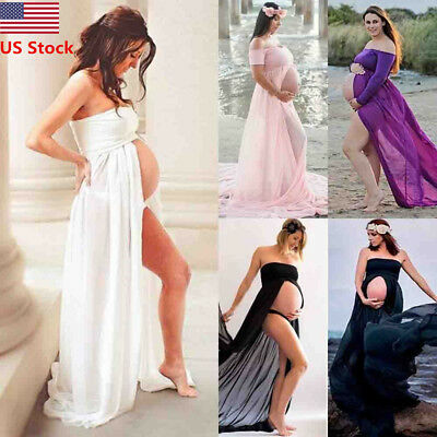 US Fashion Chiffon Photography Pregnancy Pregnant Maternity Dress Large Clothes