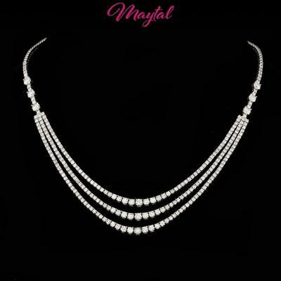 $40200 Certified 18K White Gold 12.60Ct Diamond Necklace