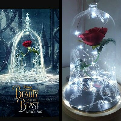 Beauty and the Beast 2017 Rose Light Bell Jar Lamp Night Gifts New Movie Style