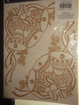 Christmas Corner Window Clings 4 in pack Gold  Bells Glitter Static Decorations