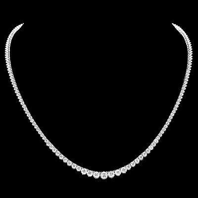 $26300 Certified 18K White Gold 9.20Ct Diamond Necklace