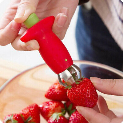 Strawberry Berry Stem Gem Leaves Huller Remover Fruit Corer Kitchen Tools Red