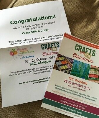 2 X Tickets To  Stitching,sewing & Hobbycrafts Show Or Crafts For Christmas