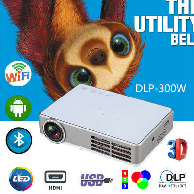 Full HD 3D LED DLP Mini Portable Video Projector Home Theater 1080p USB HDMI VGA