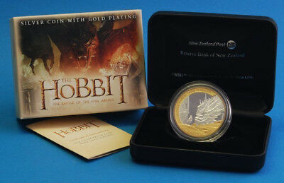 Nz: 2014 The Hobbit Dragon, 1 Oz Silver Proof $1 Coin!!! Scarce