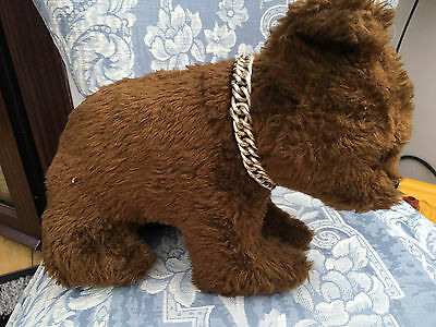 Retro Chad Valley Dark Brown Bear Cub with Chain round Neck- Cute & Collectable