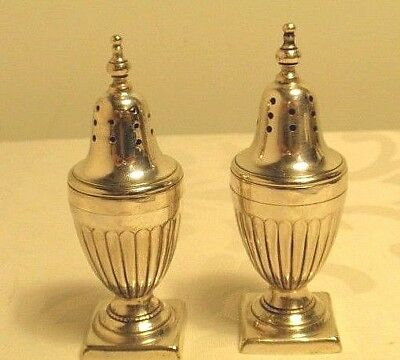 Vintage Pair PEPPER POTS Silver Plated Georgian Style Condiments
