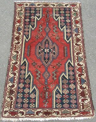 Antique Country House Shabby Chic Persian Hamadan Maslaghan Rug  100+Years Old