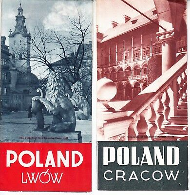 1937 VINTAGE TRAVEL BROCHURES x 4 POLAND Seaside/Cracow etc- very good condition