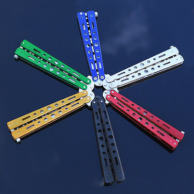 Rainbow Practice Tactical Knives Metal Butterfly Trainer Dull Model Knife Gift