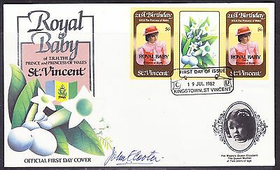 St Vincent 1982 Royal Baby Overprints   First Day Cover - Unaddressed-Signed