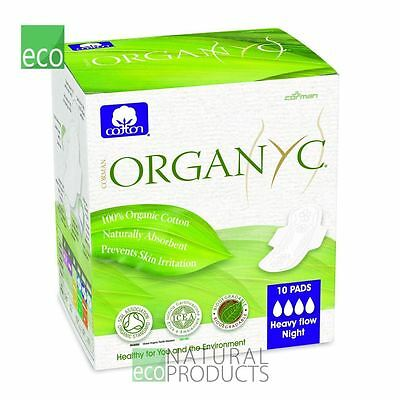Organyc Organic Cotton Sanitary Pads Heavy Flow Night Box of 10